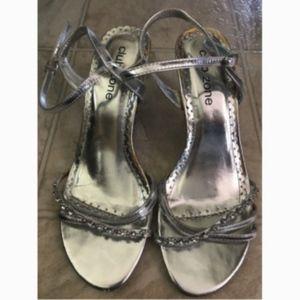 Club Zone Strappy Silver Rhinestone Sandals Size 7